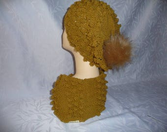Hat and matching handmade - dark Tan knit snood