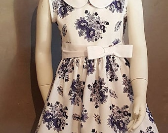 Dress Provencal blue and white flowers. HAND MADE