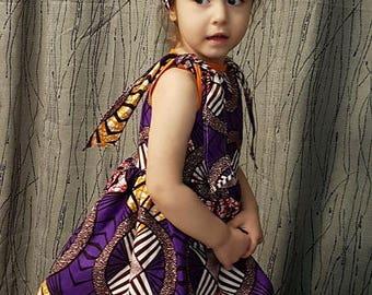 Wax in orange, purple, black cotton dress. Very trendy. HAND MADE