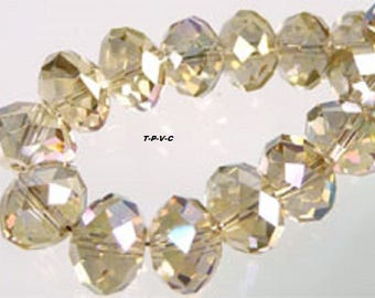 Faceted and sparkle ± 8x6mm rondelle crystal glass beads