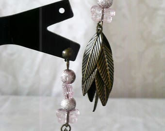 Pink butterflies with bronze 6cm leaves earrings
