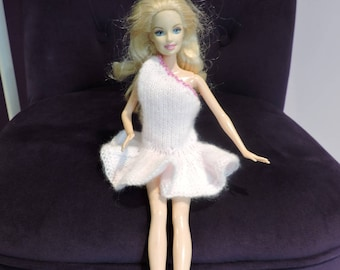 Pink hand knitted Barbie dress