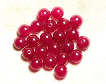 Wire 39cm 37pc env - stone beads - Jade balls 10 mm Fuchsia raspberry pink