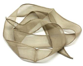 130 x 2cm Beige Brown Taupe (ref SOIE116) - 8741140014978 Brown hand dyed silk ribbon necklace