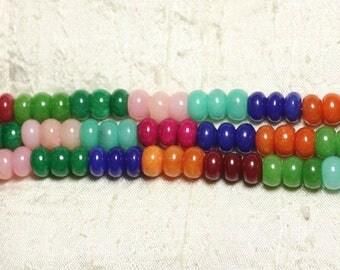 1 strand 39cm - jade stone - 10x6mm Rondelle multicolor 4558550002341