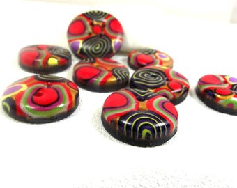 Set of 8 buttons sewing fancy red and Black circles