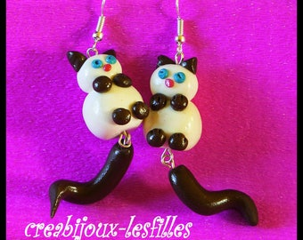 earring cats Siamese, cute, funny, anniversary gifts, earring clips child, cat jewelry,