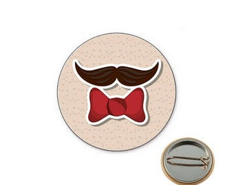 Mustache tie Ø25mm pin badge
