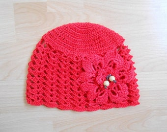 Red .fleur cotton baby Hat crochet Red