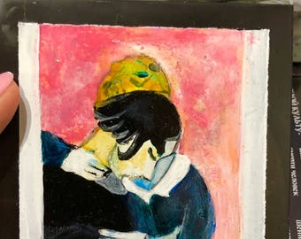 """Picture on a Shungite tile,Marc Chagall """"Pink lovers"""", Healing stone,emf protection,reiki,root chakra balancing, fine art"""