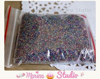 Micro beads glass silver mutli color caviar 10 grams with bag