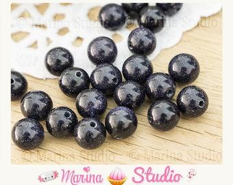 aventurine blue sand natural 8mm - round beads 5 beads
