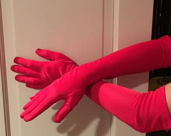 Dramatic Vintage Red Opera Gloves