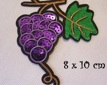 Patch fusible badge - Cluster grape leaf vine * 8 x 10 cm * embroidered iron-on Applique
