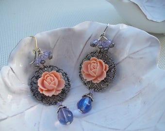 "Earrings ""peach and light Amethyst"" "