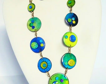 Mid-length ° Comet ° polymer clay necklace and earrings available