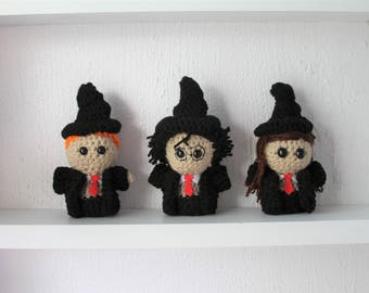 Set of 3 - Harry Potter Trio - MADE TO ORDER - Amigurumi Plush