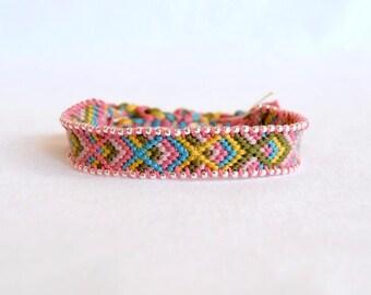 Friendship Bracelet pink blue green yellow string friendship bracelet silver color beads hippie woman fancy Brasilda Rosy