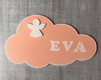 """Door plaque customizable child/baby room """"Angel and cloud"""" girl pink and white"""