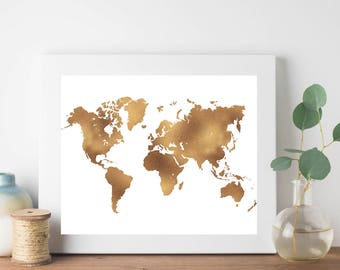Gold World Map Print, Gold Foil Map Print, World Map Print, Nursery Print, Hipster Print, Teen Room Decor, Nursery Printable