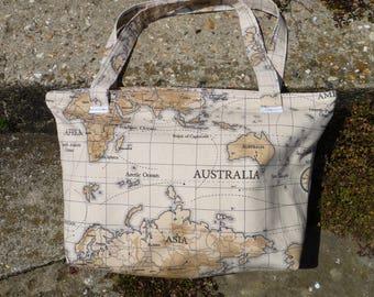 Tote bag, large world map pattern