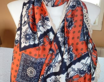 Pretty scarf in shades of blue orange and white, with flowers, edged with lace - fresh
