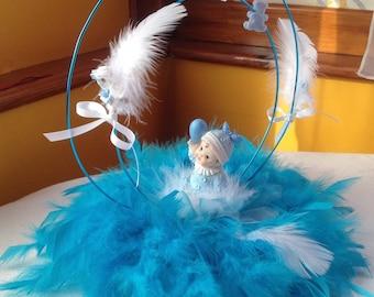 BAPTISM boy TABLE CENTERPIECES turquoise blue and white Baptism white & blue table centerpiece for boy