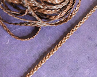 Brown faux leather braided cord