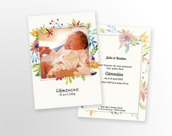 Girl birth announcement - to personalize - model Clementine