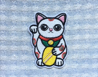 Lucky Cat Patch - Iron on Patch, Sew On Patch, Embroidered Patch