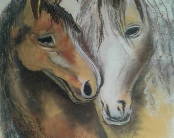 Horses painting with pastels