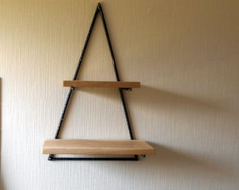 Shelf industrial style steel and wood (oak)