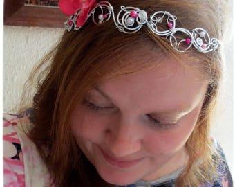 "Headband bridal ""Orchid-flor"", Crown, tiara, pink, ivory, bride, flower"