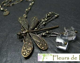 Designer jewelry: Long rock crystal Dragonfly necklace