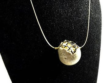 "Necklace, contemporary jewelry, ""secret"" concrete sphere"