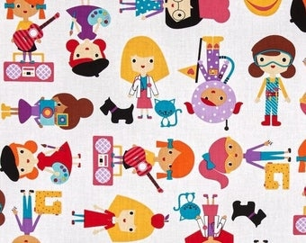 Patchwork girl white Kaufman craft fabric