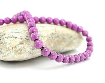 Faceted Hematite - Diam 10 beads. 8 mm - purple color