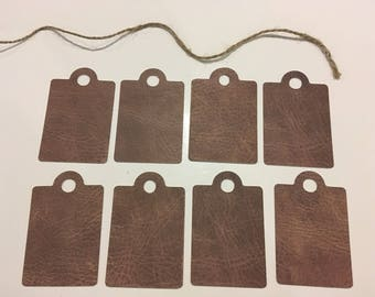 Set of 8 tags 70 mm x 45 mm effect leather
