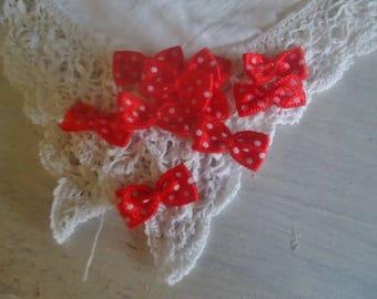 Set of 8 small satin bows