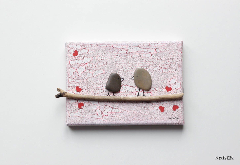 Tableau bois flott galets oiseaux fond blanc craquel rouge for Tableau bois flotte