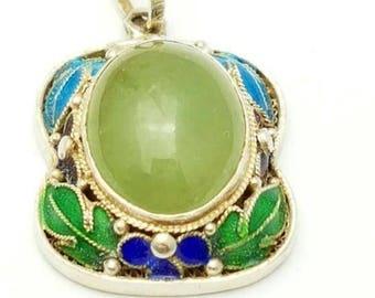 Gereserveerd voor Tina Chinese export Zilveren hanger met Jade en emaille