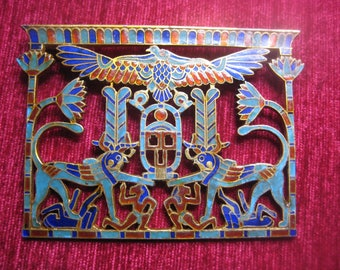 ART DECO pendant silver plated enamelled Egyptian Revival 1920