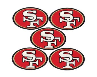 """Set of 5 San Francisco 49er's Iron On Patch 3"""" X 1.75"""" embroidered team logo"""
