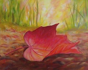 "An original painting, ""Fall Leaf"" by Sherri Hepler, acrylic on canvas"