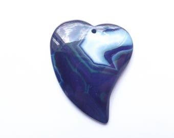 Asymmetric blue and white agate heart TIGAN 210
