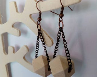 Earrings Pearl polygon wood