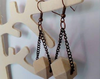 Earrings Pearl polygon wood