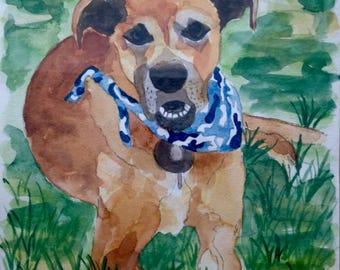 "CUSTOM PET PORTRAIT Original watercolor painting 8x10"""