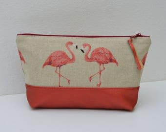 Cosmetic bag, pouch, pencil cases, synthetic leather rust, vegan, vegan make-up bag, storage, Flamingo