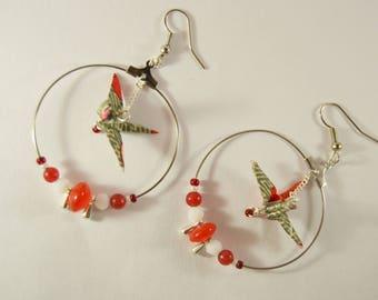 Himalayan Origami crane earrings. Sembatsuru